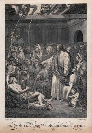 view The paralytic is lowered through the roof of a crowded house so that Christ can reach him and cure him. Engraving by J. Newton, 1795 (?), after C.R. Ryley.