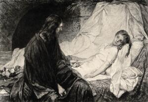 view Christ sits at the bedside of Jairus's sickening daughter. Etching after G.C. von. Max.