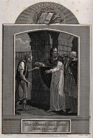 view Christ heals the man with the withered hand. Etching by J. Barlow, 1813, after W.M. Craig.