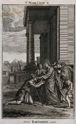 view Christ cures blind Bartimeus by laying his hand on his eyes. Etching.