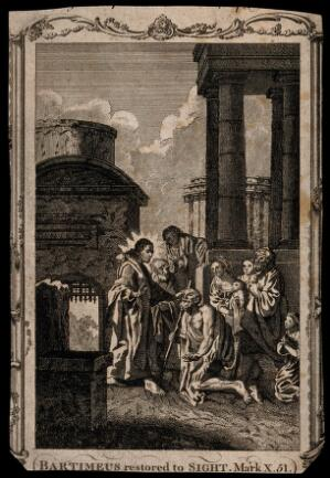 view Christ cures blind Bartimeus near a temple. Etching.