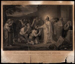 view Christ heals blind Bartimeus in the evening. Stipple engraving by Lecomte after Deveria.