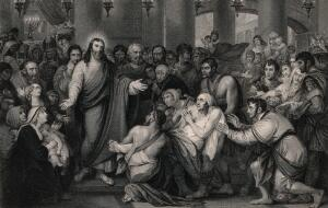 view Crowds gather as Christ heals sick people. Engraving by T. Phillibrown after B. West.