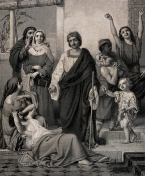 view Job giving alms to the sick. Engraving by H. Bourne, 1862, after W. Dobson.