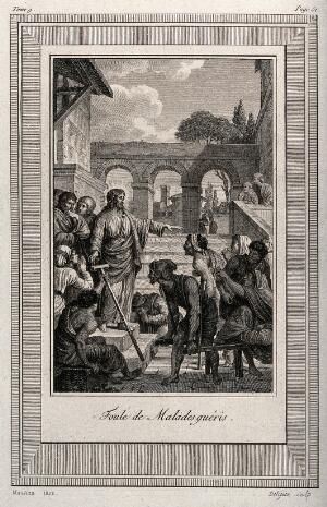 view A crowd of sick people congregates around Christ. Etching by J-L. Delignon after N.A. Monsiaux.
