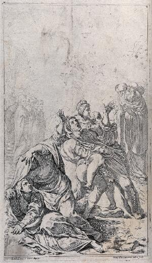 view Saint Benedict exorcising through prayer a man possessed by demons. Etching by G.M. Giovannini after L. Carracci.