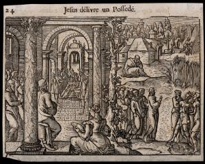 view Christ heals a man possessed by demons. Woodcut, 16th century.