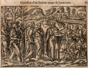 view Christ heals a dumb, mentally ill child. Woodcut.