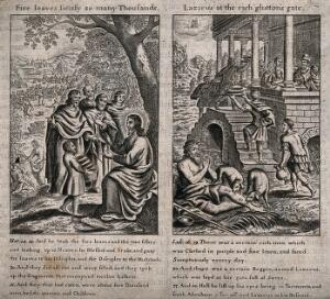 view Lazarus prays as his sores are licked by dogs; Dives feasts on his balcony. Engraving.