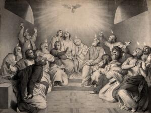 view Tongues of fire descend on the apostles at Pentecost. Lithograph.