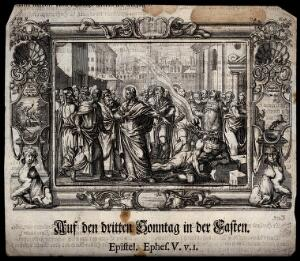 view Christ heals a demoniac; a demon is expelled into the air. Etching.