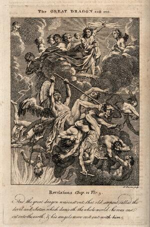 view Lucifer's angels tumble out of heaven, their limbs entwined. Etching by R. Pranker, 176-.