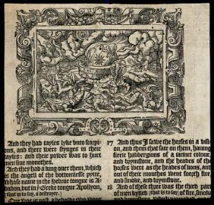 view A star falls into the pit of hell as locusts torture those unelected to heaven. Woodcut, c. 16th century.