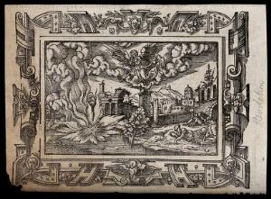 view Angels blow trumpets in heaven and fire descends on a river. Woodcut, 16th century.
