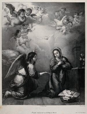 view The angel, announcing the birth of Christ, gives a lily to the Virgin. Lithograph by F. Decraene after B. Murillo.