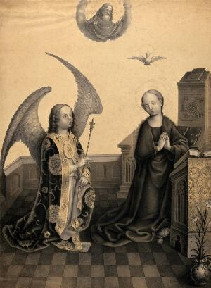 view The angel, announcing the birth of Christ, comes with a sceptre to the Virgin. Tinted lithograph by N.J. Strixner, 1821, after School of Meister Wilhelm.
