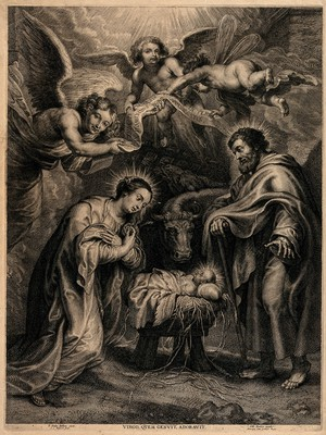view The birth of Christ; the Virgin kneels before the manger. Engraving by S.A. Bolswert after P.P. Rubens.