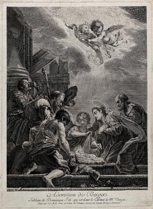 view The adoration of the shepherds at the birth of Christ; a bound lamb is placed before the cradle. Engraving by S.F. Ravenet after D. Feti.