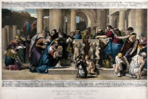 view The presentation of Jesus to the priest of the Temple. Coloured lithograph by F.S. Hanfstaengl after P. Caliari, il Veronese.
