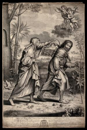 view Mary and Joseph walk to Egypt with the infant Jesus. Engraving by N. Pitau, 1666, after S. François.