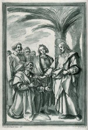view Jesus appoints Peter as head of the church. Colour etching by A. Scacciati after J. Chimenti.