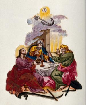 view The risen Christ breaks bread with two men at Emmaus. Miniature watercolour painting.