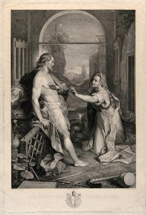 view The risen Christ asks Mary Magdalene not to touch him. Engraving by R. Morghen after S. Tofanelli after F. Barocci.
