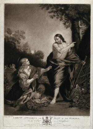 view Saint Mary Magdalene reaches out for the risen Christ; he points away. Mezzotint by J. Murphy after G. Farington, 1781, after P. da Cortona.
