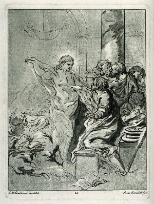 view Christ appearing to the apostle Thomas after the Resurrection. Coloured etching by A. Scacciati after A.D. Gabbiani.