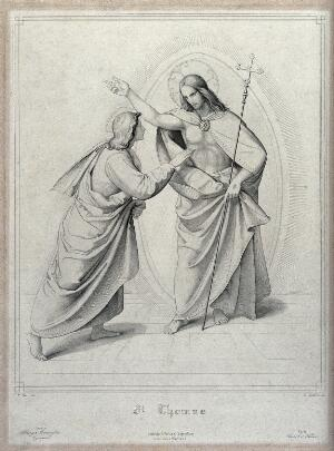 view Christ appearing to the apostle Thomas, who touches his stigmata. Engraving by E. Schäffer after P. Veit.