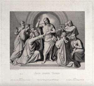 view Christ appearing to the apostle Thomas, who touches his stigmata. Engraving by A. Rordorf, 1850, after J.F. Overbeck.