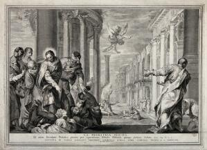 view Christ healing the lame at the pool of Bethesda. Etching after P. Caliari, il Veronese.