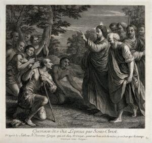view Christ healing the ten people with leprosy. Engraving by Louis Surugue after G. Genga.