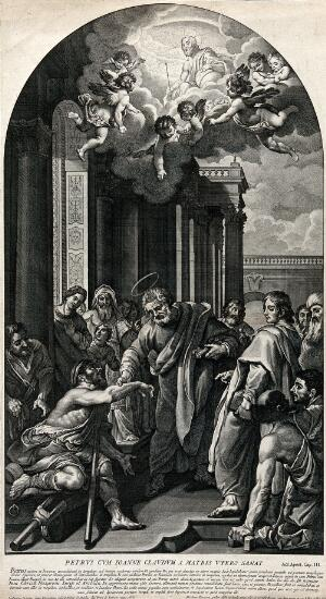 view Saint Peter and Saint John healing the lame at the temple gate, above the vision of Christ in heaven. Etching by N. Dorigny, 1691, after L. Cardi, il Cigoli, 1606.