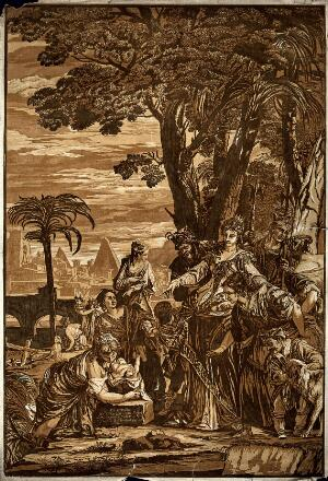 view The finding of Moses. Colour woodcut by J.B. Jackson, 1741, after P. Caliari, il Veronese.