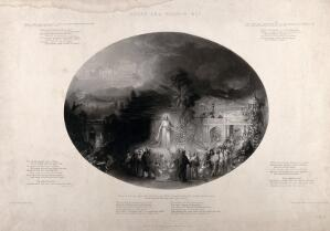 view The sermon on the mount, the parable of the narrow and the broad way. Aquatint by G. Sanders after himself.