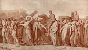 view Christ bearing his cross. Photolithograph after H. Flandrin.
