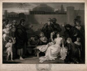 view Christ raising the widow's son. Stipple engraving by J. Godby after R. Smirke, 1808.