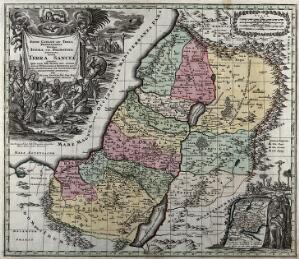 view A map of the biblical Palestine with three biblical scenes: Moses and the ten commandments; the serpent on the pole; Christ healing the insane; the Crucifixion. Coloured etching after G. Rogg.