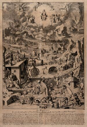 view Purgatory. Etching by E. Henne after P. Bruegel the elder.