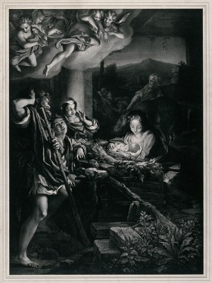 view The adoration of the shepherds. Lithograph by F. Hanfstaengl, 1838, after Antonio Allegri, il Correggio.