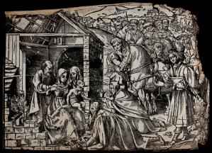 view The adoration of the Magi. Woodcut.