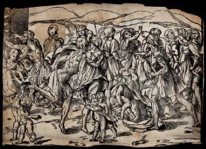 view The massacre of the innocents. Woodcut.