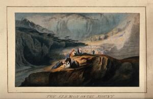 view The sermon on the Mount. Coloured chromolithograph after John Martin, 1832.