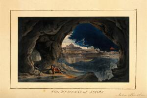 view The remorse of Judas. Coloured chromolithograph after J. Martin.