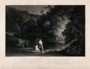 view Adam and Eve hearing the judgement of the Almighty. Mezzotint by J. Martin.