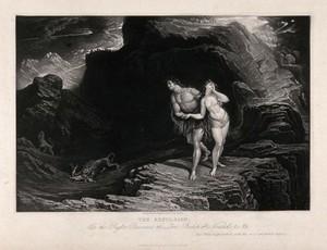 view The expulsion from paradise. Mezzotint by J. Martin.