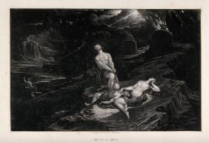 view The death of Abel. Mezzotint by J. Martin.