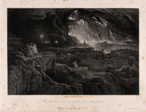 view The destruction of Sodom and Gomorrah. Mezzotint by J. Martin, 1832.