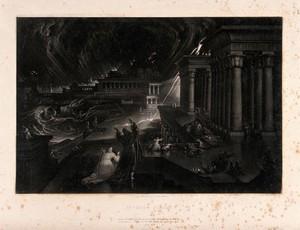 view Moses evokes the seventh plague. Mezzotint by John Martin, 1832.